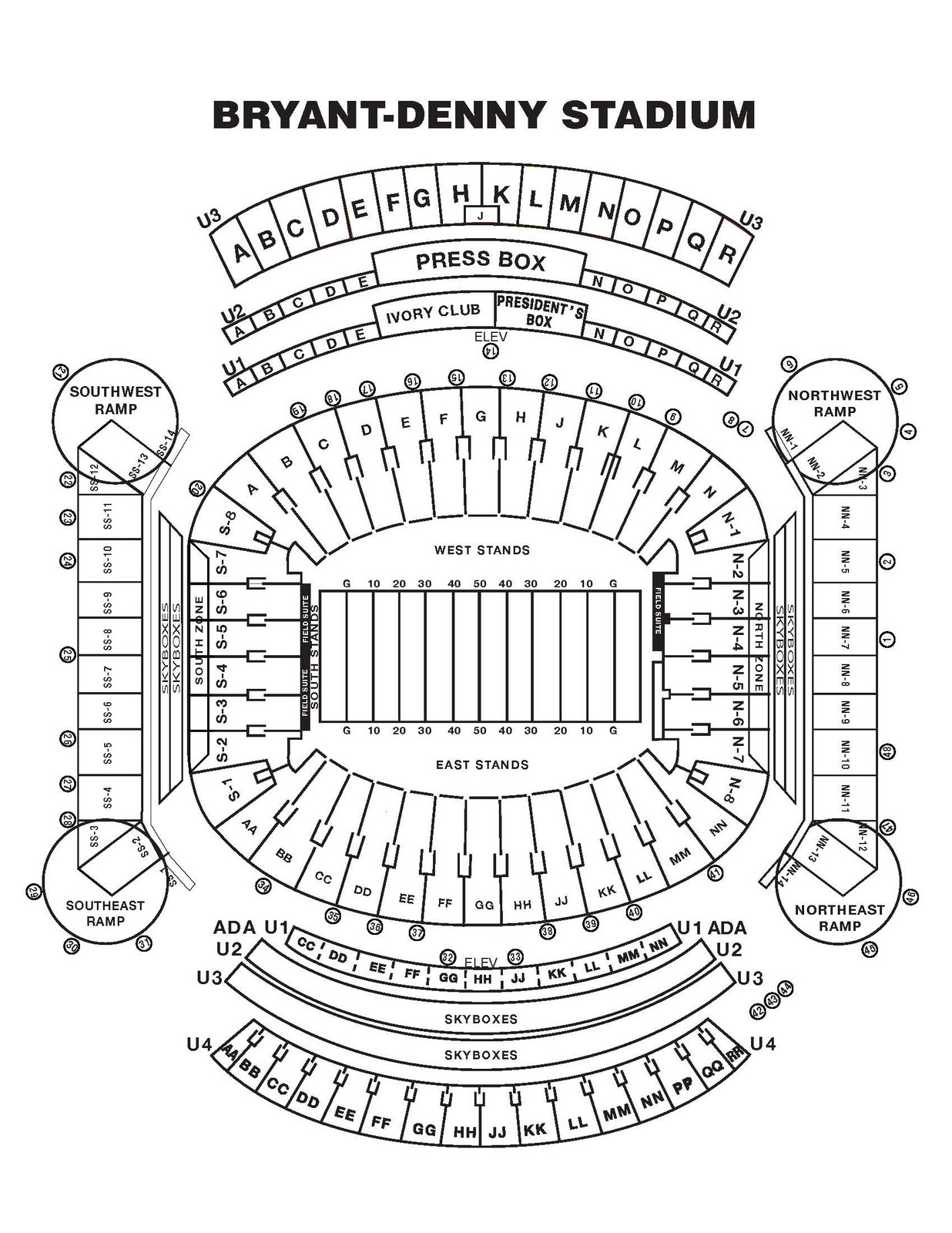 bryant denny stadium seating diagram  diagrams  auto parts